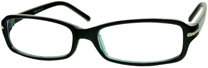 Angle of The Danica in Black/Blue, Women's Rectangle Reading Glasses