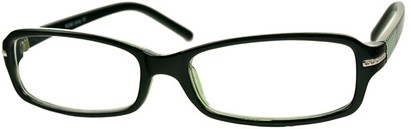 Angle of The Danica in Black/Green, Women's Rectangle Reading Glasses