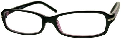 Angle of The Danica in Black/Purple, Women's Rectangle Reading Glasses