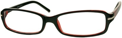Angle of The Danica in Black/Red, Women's Rectangle Reading Glasses