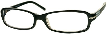 Angle of The Danica in Black/White, Women's Rectangle Reading Glasses
