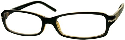 Angle of The Danica in Black/Yellow, Women's Rectangle Reading Glasses