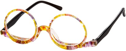 Angle of The Magnolia Makeup Reader in Yellow Multi, Women's Round Reading Glasses