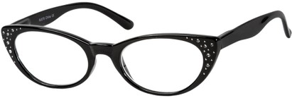 Angle of The Imperial in Black, Women's Cat Eye Reading Glasses