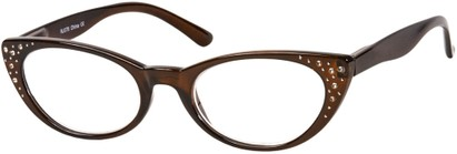 Angle of The Imperial in Brown, Women's Cat Eye Reading Glasses