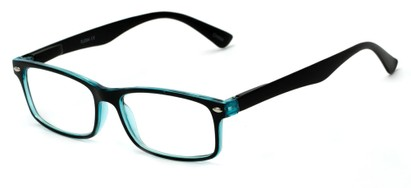Angle of The Gable in Black/Aqua Blue, Women's and Men's Rectangle Reading Glasses
