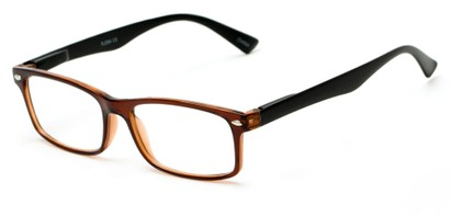 Angle of The Gable in Brown with Black Temples, Women's and Men's Rectangle Reading Glasses