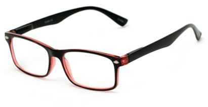 Angle of The Gable in Black/Red, Women's and Men's Rectangle Reading Glasses
