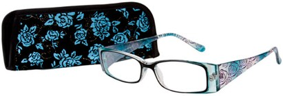 Angle of The Rosette in Blue, Women's Rectangle Reading Glasses