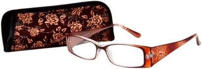 Angle of The Rosette in Brown, Women's Rectangle Reading Glasses