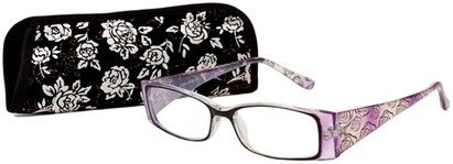Angle of The Rosette in Black/White/Purple, Women's Rectangle Reading Glasses