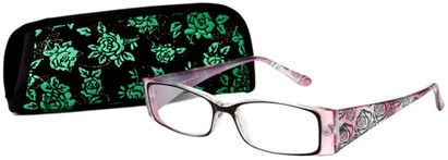 Angle of The Rosette in Green/Purple, Women's Rectangle Reading Glasses