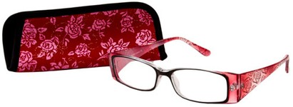 Angle of The Rosette in Red, Women's Rectangle Reading Glasses