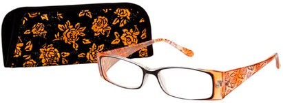Angle of The Rosette in Yellow, Women's Rectangle Reading Glasses
