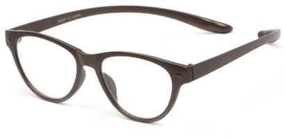 Angle of The Shawna Flexible Hanging Reader in Brown, Women's Cat Eye Reading Glasses