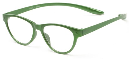Angle of The Shawna Flexible Hanging Reader in Green, Women's Cat Eye Reading Glasses