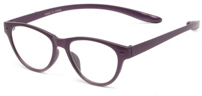 Angle of The Shawna Flexible Hanging Reader in Purple, Women's Cat Eye Reading Glasses