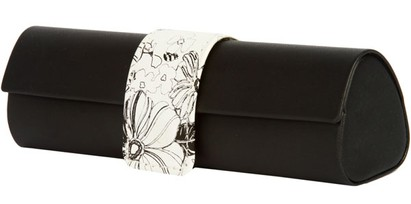 Angle of Floral Reading Glasses Case #1010 in Black, Women's and Men's