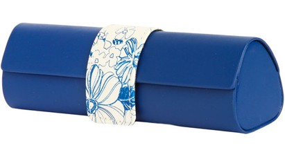 Angle of Floral Reading Glasses Case #1010 in Blue, Women's and Men's