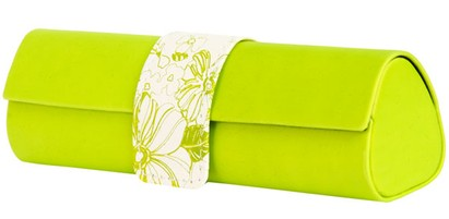 Angle of Floral Reading Glasses Case #1010 in Lime Green, Women's and Men's