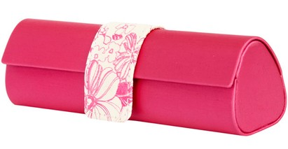 Angle of Floral Reading Glasses Case #1010 in Hot Pink, Women's and Men's