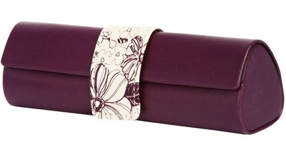 Angle of Floral Reading Glasses Case #1010 in Purple, Women's and Men's