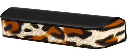 Angle of Animal Print Reading Glasses Case #1003 in Black/Brown Leopard, Women's and Men's