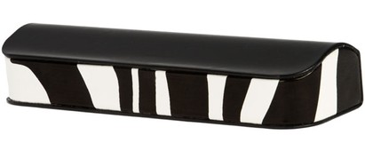 Angle of Animal Print Reading Glasses Case #1003 in Black/Zebra, Women's and Men's
