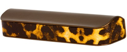 Angle of Animal Print Reading Glasses Case #1003 in Bronze/Cheetah, Women's and Men's