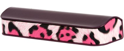 Angle of Animal Print Reading Glasses Case #1003 in Purple/Pink Leopard, Women's and Men's