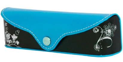 Angle of Colorblock Floral Reading Glasses Case #1011 in Blue/Black, Women's and Men's