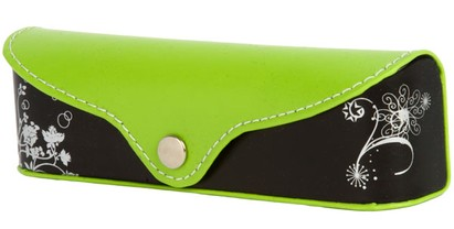 Angle of Colorblock Floral Reading Glasses Case #1011 in Lime Green/Black, Women's and Men's