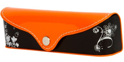 Angle of Colorblock Floral Reading Glasses Case #1011 in Orange/Black, Women's and Men's