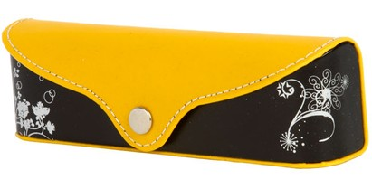 Angle of Colorblock Floral Reading Glasses Case #1011 in Yellow/Black, Women's and Men's