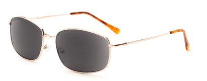 Angle of The Randy Reading Sunglasses in Glossy Gold with Smoke, Men's Rectangle Reading Sunglasses