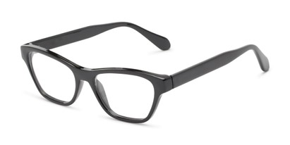 Angle of The Reba Customizable Reader in Black, Women's Cat Eye Reading Glasses