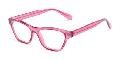 Angle of The Reba Customizable Reader in Pink, Women's Cat Eye Reading Glasses