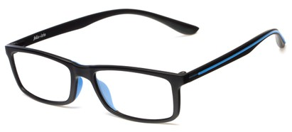 Angle of Rockville by felix + iris in Black + Cobalt, Women's and Men's Rectangle Reading Glasses