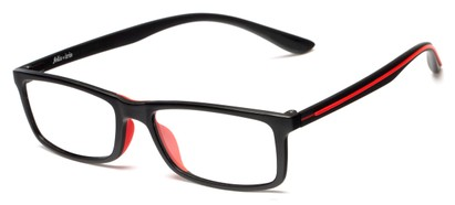 Angle of Rockville by felix + iris in Black + Red Apple, Women's and Men's Rectangle Reading Glasses