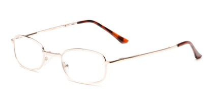 Angle of The Ryder Folding Reader in Gold, Women's and Men's Oval Reading Glasses