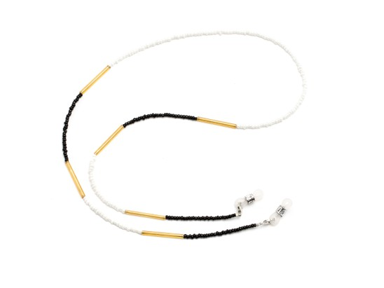 Angle of Jocelyn Reading Glasses Chain in Black/White, Women's  Neck Chains