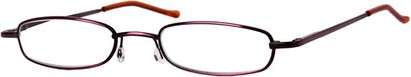 Angle of The Calvin in Red/Black Fade, Women's and Men's Rectangle Reading Glasses