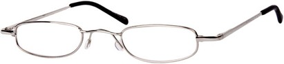 Angle of The Calvin in Silver, Women's and Men's Rectangle Reading Glasses