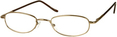 Angle of The Harding in Dark Gold, Women's and Men's Oval Reading Glasses