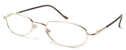 Angle of The Harding in Gold, Women's and Men's Oval Reading Glasses