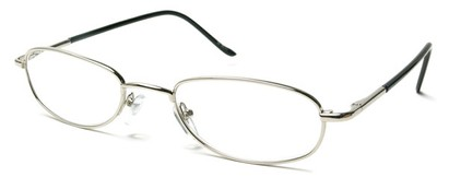 Angle of The Harding in Silver, Women's and Men's Oval Reading Glasses