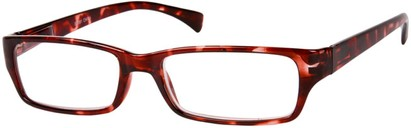 Angle of The Mitchell in Red Tortoise, Women's and Men's Rectangle Reading Glasses