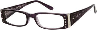 Angle of The Audrey in Purple, Women's Rectangle Reading Glasses