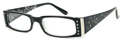 Angle of The Audrey in Black, Women's Rectangle Reading Glasses