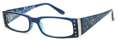 Angle of The Audrey in Blue, Women's Rectangle Reading Glasses